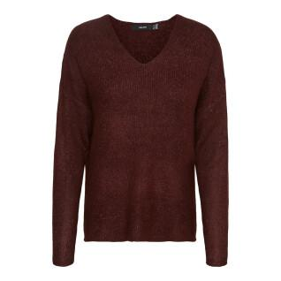 Suéter con cuello en V para mujeres Vero Moda vmcrewlefile
