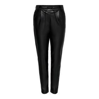 Pantalones de mujer Only onlpoptrash leather pnt
