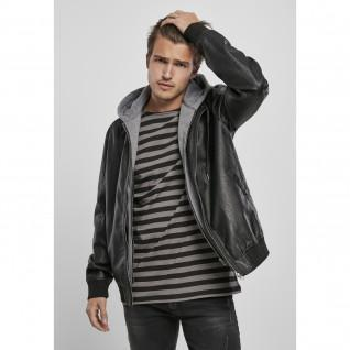 Chaqueta con capucha Urban Classics fleece fake leather